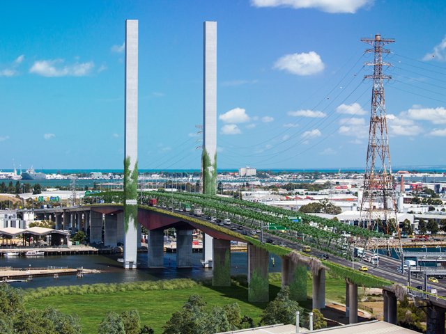 A green vision for Bolte Bridge, Melbourne. Image Greener Spaces Better Places